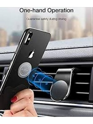 BLACK Mobile Phone Holder- Metal Portable 360 Degree Rotating Magnetic Mobile Holder for Car, Office, Desk, Home and Table.